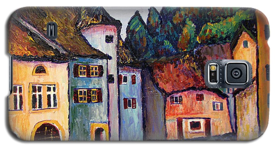 Medieval Galaxy S5 Case featuring the painting Medieval Village Of St. Ursanne Switzerland by Art Nomad Sandra Hansen