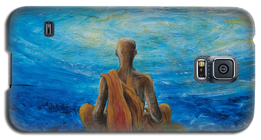 Monk Galaxy S5 Case featuring the painting Meditation by Nik Helbig