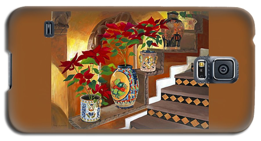 Mexican Pottery Galaxy S5 Case featuring the painting Mexican Pottery On Staircase by Judy Swerlick