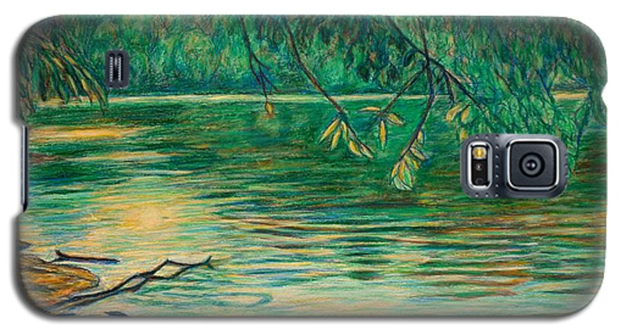 Landscape Galaxy S5 Case featuring the painting Mid-spring On The New River by Kendall Kessler