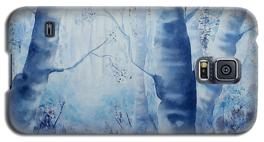 Landscape Galaxy S5 Case featuring the painting Misty Blue by Janice Gell