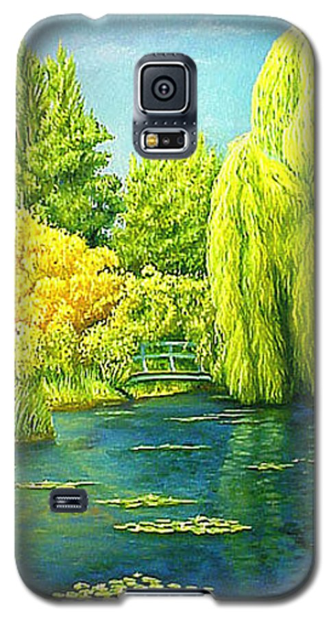 Monets Lily Pond Galaxy S5 Case featuring the painting Monets Lily Pond In Green by Gary Hernandez