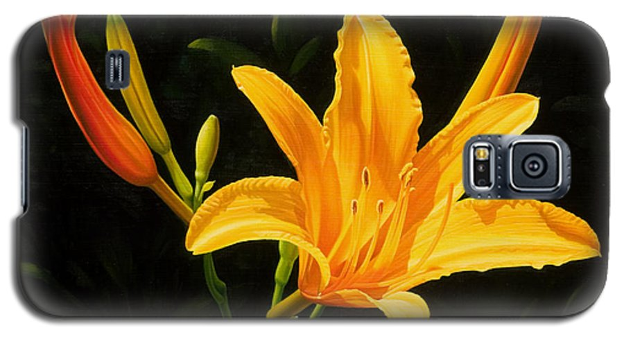 Floral Galaxy S5 Case featuring the painting Monikas Lily by Gary Hernandez