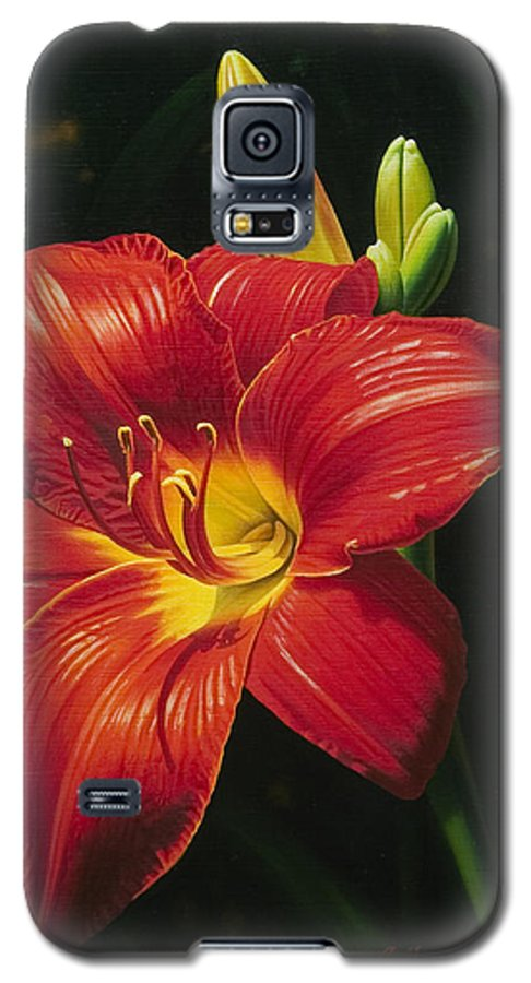 Lily Galaxy S5 Case featuring the painting Monikas Red Lily by Gary Hernandez
