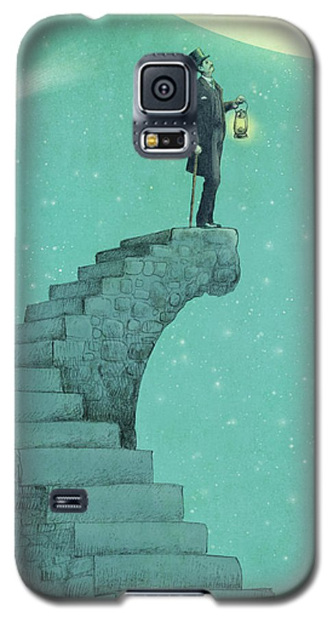 Moon Galaxy S5 Case featuring the drawing Moon Steps by Eric Fan