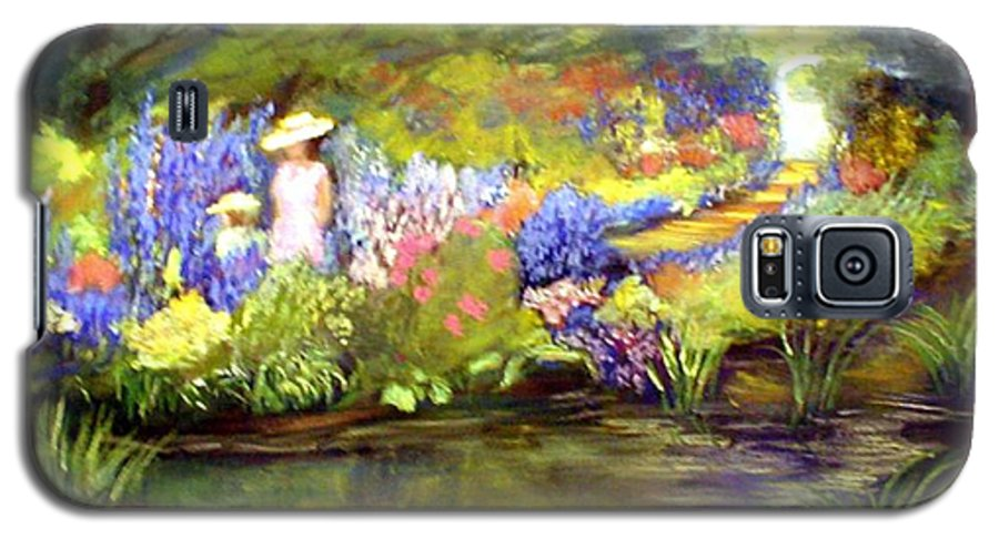 Flower Garden Galaxy S5 Case featuring the painting Mother And Daughter by Gail Kirtz