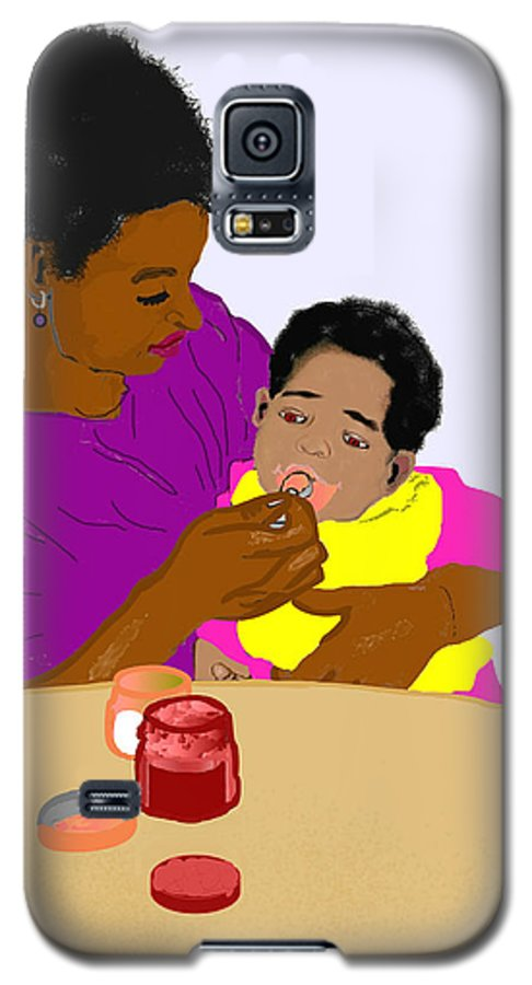 Mother Galaxy S5 Case featuring the painting Mother Feeding Her Baby by Pharris Art