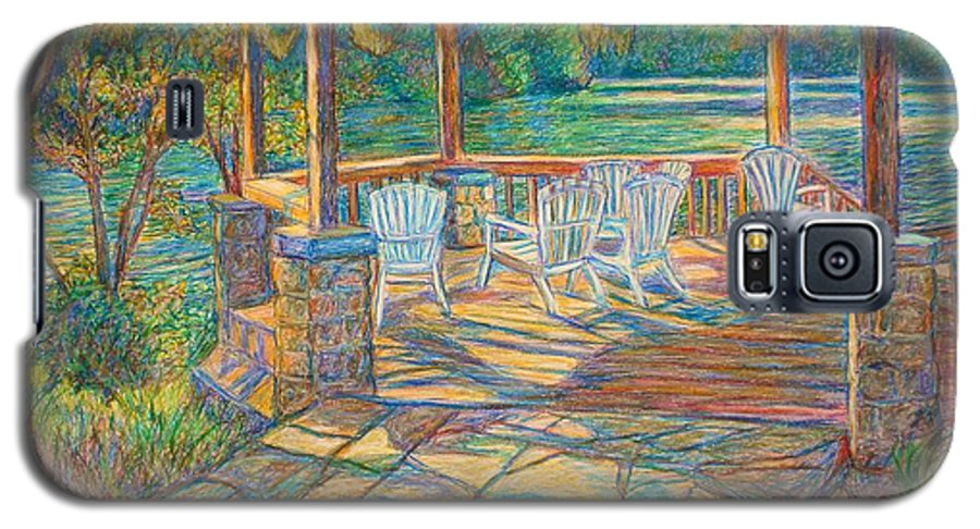 Lake Galaxy S5 Case featuring the painting Mountain Lake Shadows by Kendall Kessler