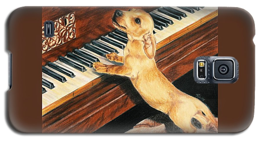 Dogs Galaxy S5 Case featuring the drawing Mozart's Apprentice by Barbara Keith