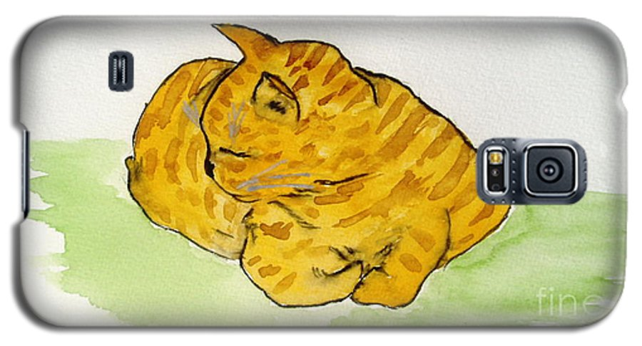 Cat Painting Galaxy S5 Case featuring the painting Mr. Yellow by Reina Resto