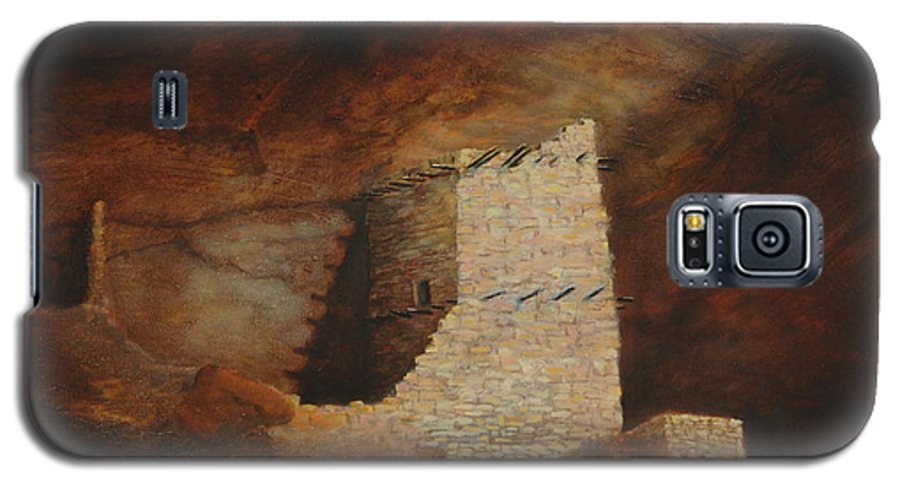 Anasazi Galaxy S5 Case featuring the painting Mummy Cave by Jerry McElroy