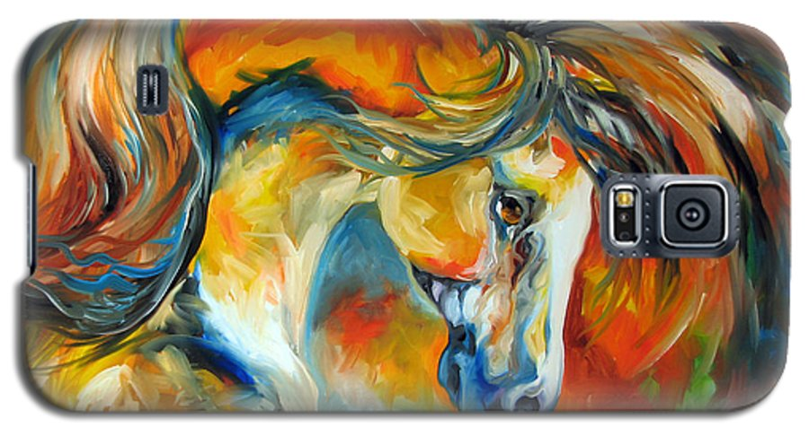 Equine Galaxy S5 Case featuring the painting Mustang West by Marcia Baldwin
