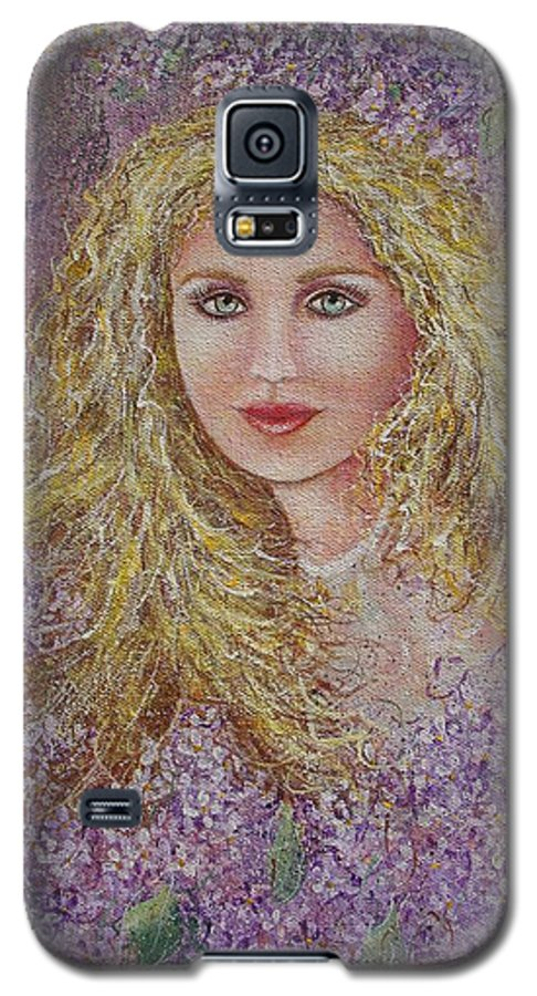 Portrait Galaxy S5 Case featuring the painting Natalie In Lilacs by Natalie Holland