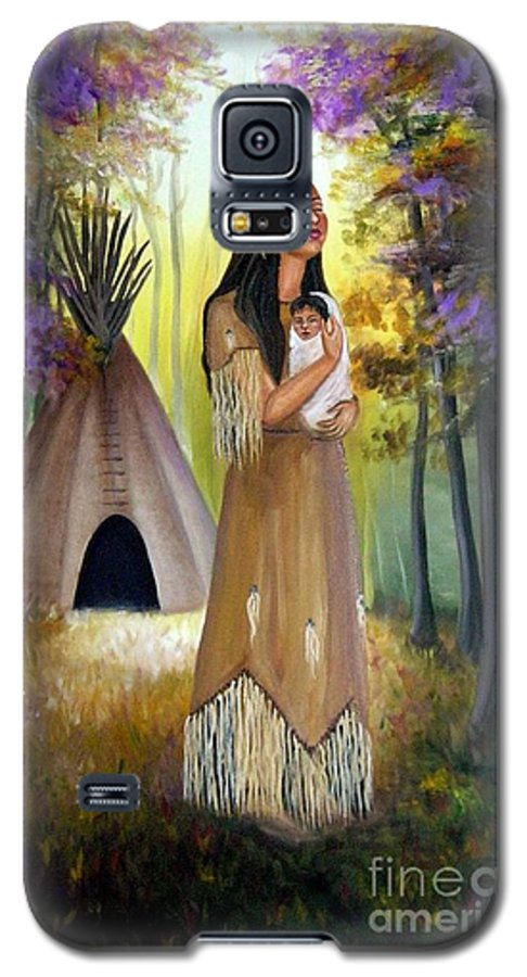 Native American Galaxy S5 Case featuring the painting Native American Mother And Child by Lora Duguay