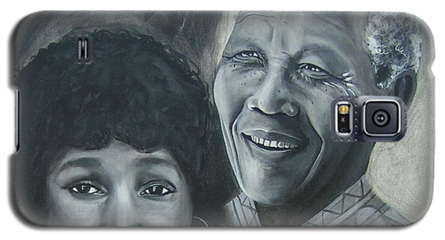From Black & White Series Galaxy S5 Case featuring the painting Nelson And Winnie by Howard Stroman