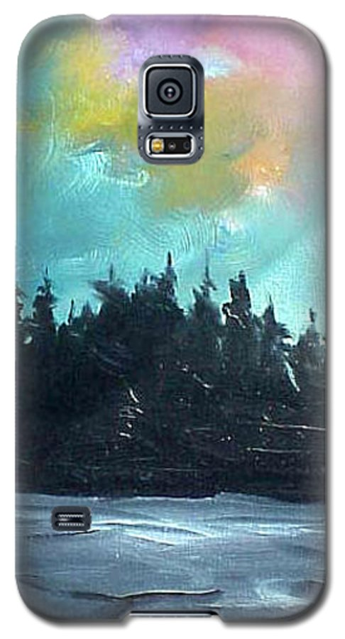 Landscape Galaxy S5 Case featuring the painting Night River by Sergey Bezhinets