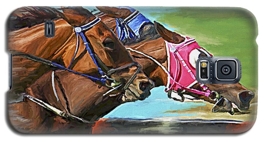 Horses Galaxy S5 Case featuring the painting Nikita By A Head by David Wagner
