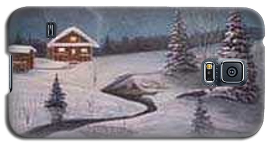 Rick Huotari Galaxy S5 Case featuring the painting North Woods Cabin by Rick Huotari
