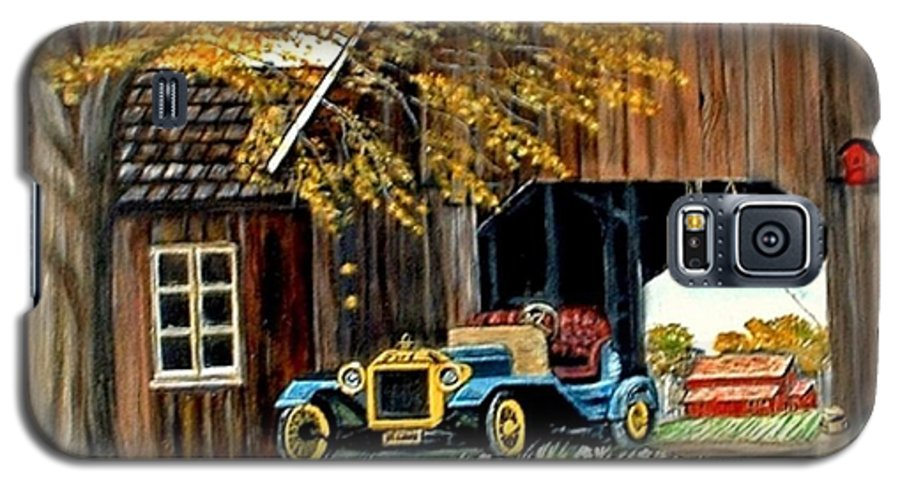Old Barn Car Galaxy S5 Case featuring the painting Old Barn And Old Car by Kenneth LePoidevin