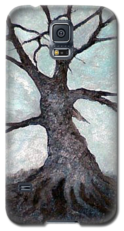 Landscape Galaxy S5 Case featuring the painting Old Tree by Sergey Bezhinets