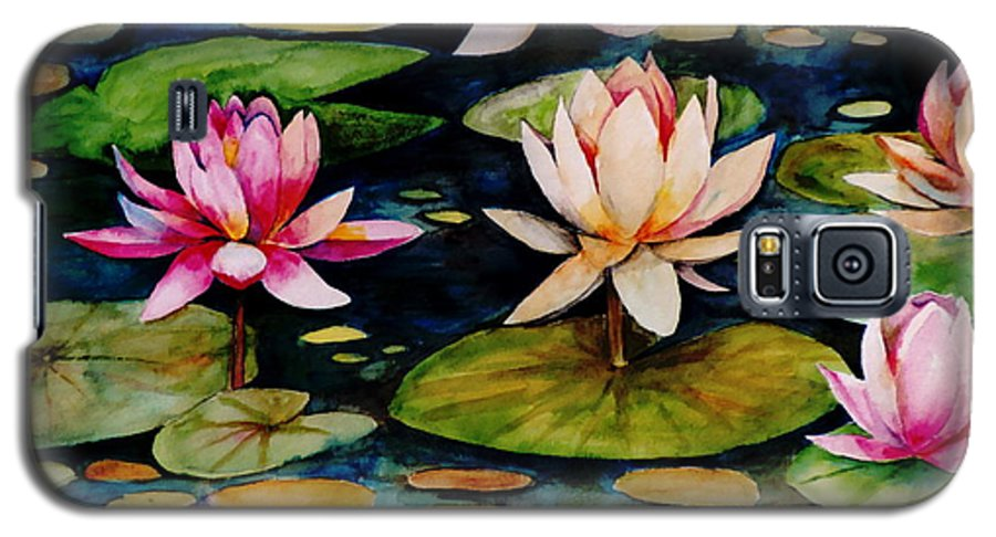 Lily Galaxy S5 Case featuring the painting On Lily Pond by Jun Jamosmos