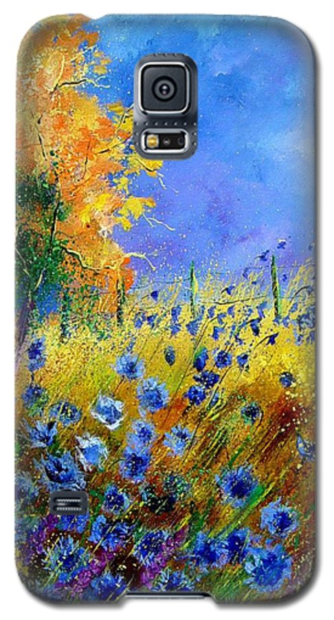 Poppies Galaxy S5 Case featuring the painting Orange Tree And Blue Cornflowers by Pol Ledent
