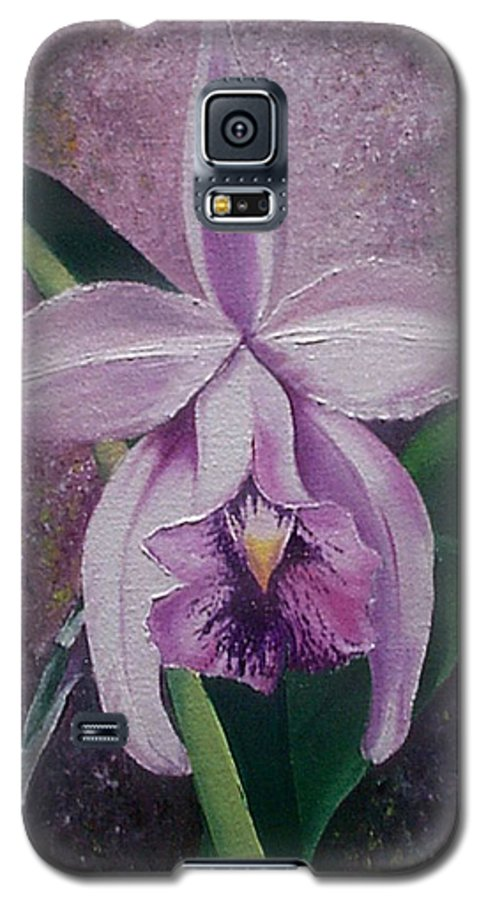 Orchid Purple Floral Botanical Galaxy S5 Case featuring the painting Orchid Lalia by Karin Dawn Kelshall- Best