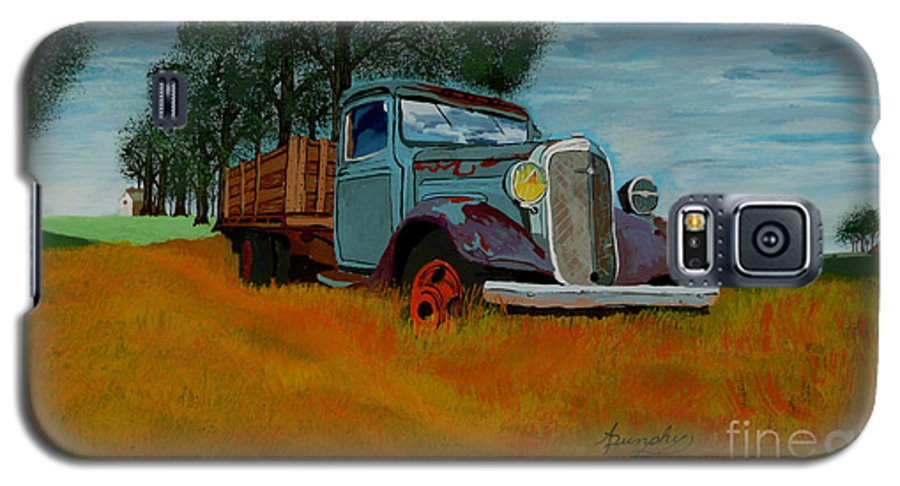 Truck Galaxy S5 Case featuring the painting Out To Pasture by Anthony Dunphy