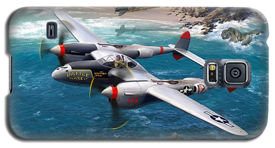 Airplanes Galaxy S5 Case featuring the painting P-38 Lightning Battle Axe by Mark Karvon