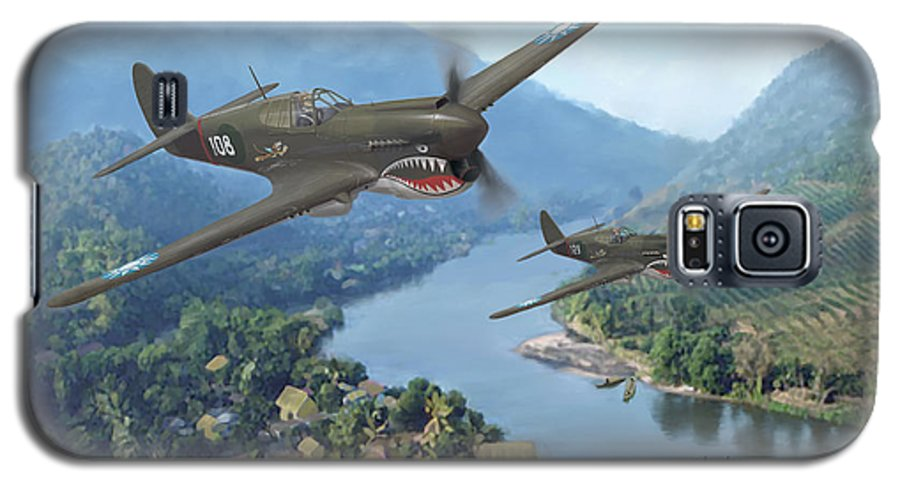 Airplanes Galaxy S5 Case featuring the painting P-40 Warhawks Of The 23rd Fg by Mark Karvon