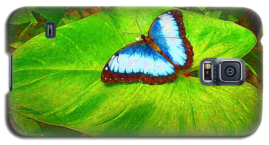 Butterfly Galaxy S5 Case featuring the photograph Painted Blue Morpho by Teresa Zieba