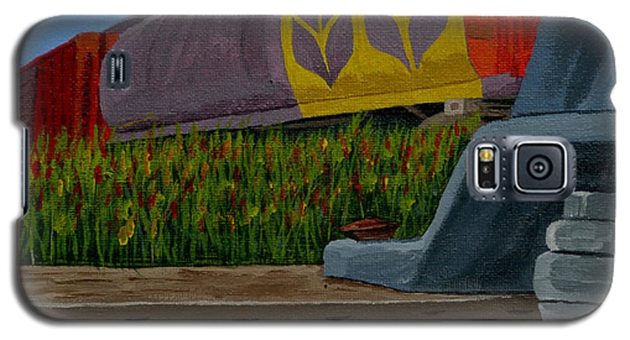 Train Galaxy S5 Case featuring the painting Passing The Wild Ones by Anthony Dunphy
