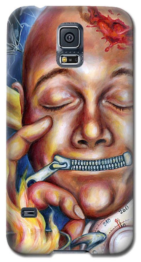 Face Galaxy S5 Case featuring the painting Peace In Mind by Hiroko Sakai