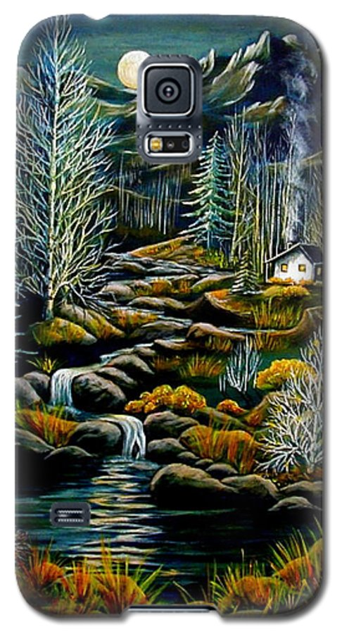 Mountains Galaxy S5 Case featuring the painting Peaceful Seclusion by Diana Dearen