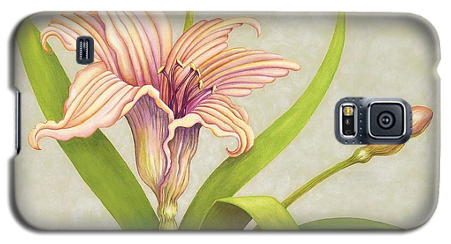 Soft Peach Lily In A Pose Galaxy S5 Case featuring the painting Peach Lily by Carol Sabo