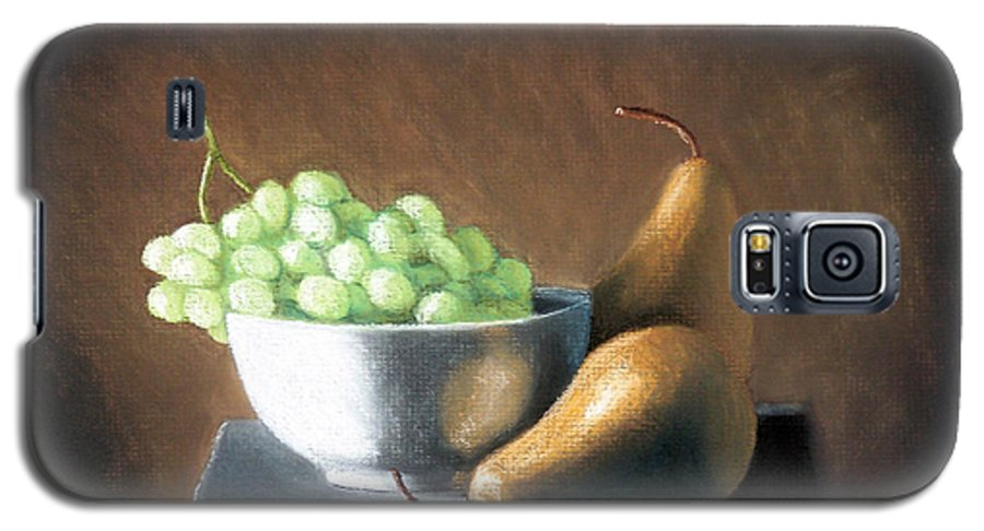 Pastel Galaxy S5 Case featuring the painting Pears And Grapes by Joseph Ogle
