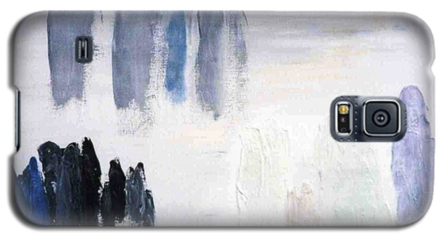 White Landscape Galaxy S5 Case featuring the painting People Come And They Go by Bruce Combs - REACH BEYOND