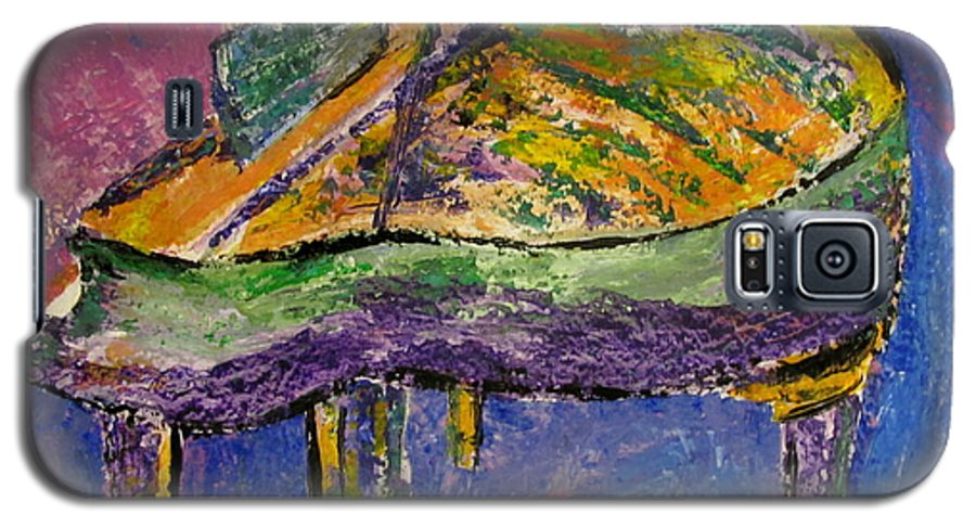 Impressionist Galaxy S5 Case featuring the painting Piano Purple by Anita Burgermeister