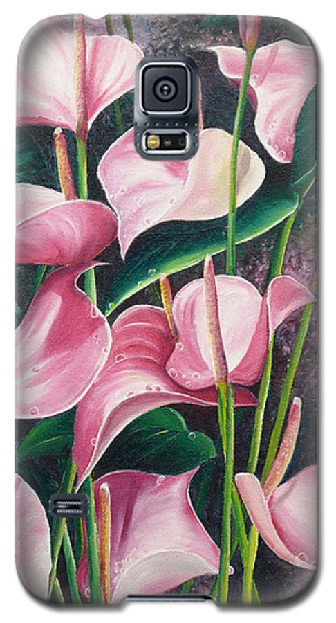 Floral Flowers Lilies Pink Galaxy S5 Case featuring the painting Pink Anthuriums by Karin Dawn Kelshall- Best