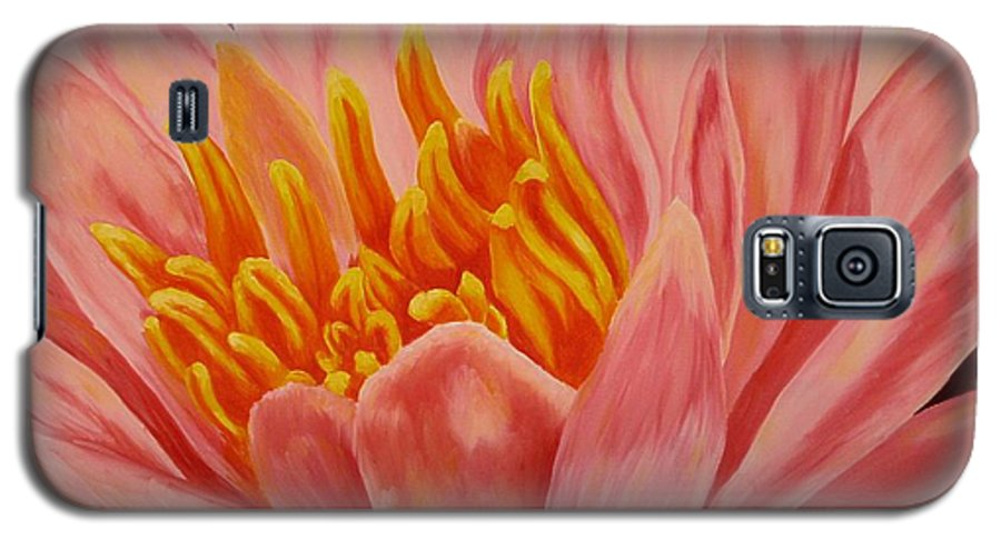 Oil Galaxy S5 Case featuring the painting Pink Waterlily by Darla Brock