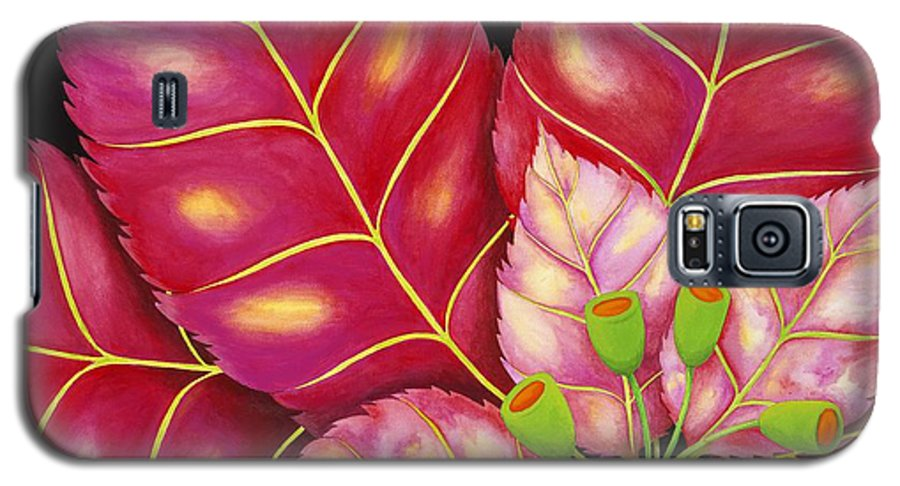 Acrylic Galaxy S5 Case featuring the painting Poinsettia by Carol Sabo