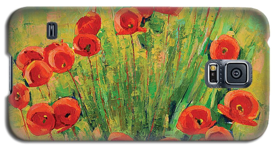 Poppies Galaxy S5 Case featuring the painting Poppies by Iliyan Bozhanov