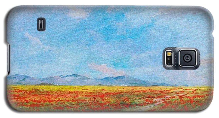 Poppy Field Galaxy S5 Case featuring the painting Poppy Field by Sinisa Saratlic