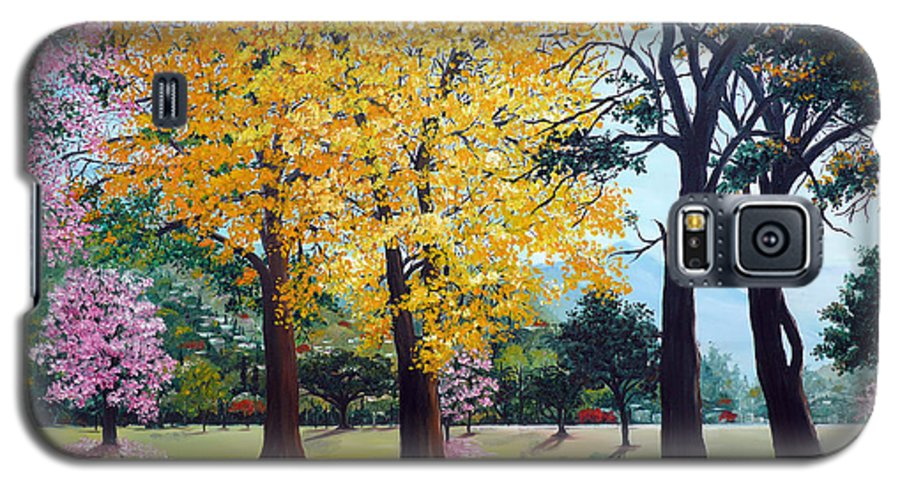 Tree Painting Landscape Painting Caribbean Painting Poui Tree Yellow Blossoms Trinidad Queens Park Savannah Port Of Spain Trinidad And Tobago Painting Savannah Tropical Painting Galaxy S5 Case featuring the painting Poui Trees In The Savannah by Karin Dawn Kelshall- Best