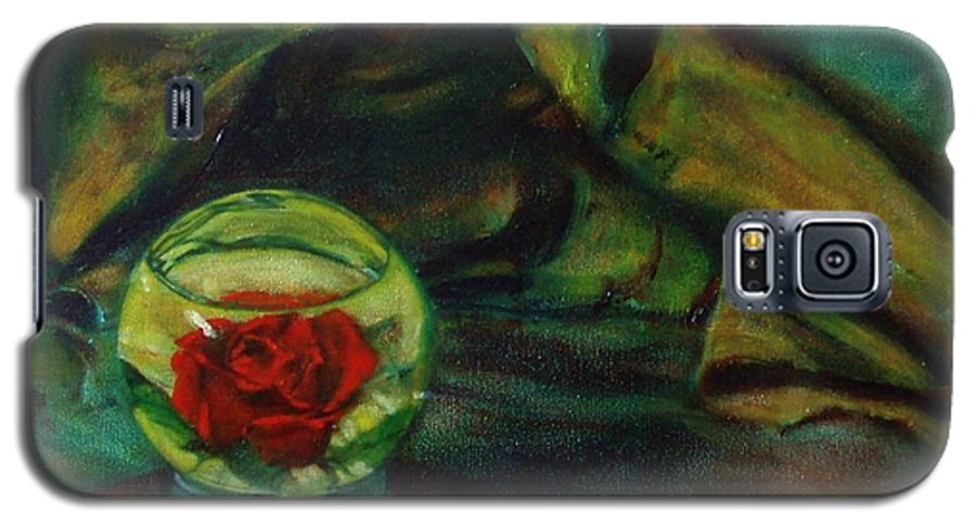 Still Life Galaxy S5 Case featuring the painting Preserved Rose . . Draped Canvas by Sean Connolly