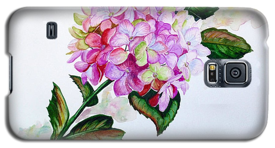 Hydrangea Painting Floral Painting Flower Pink Hydrangea Painting Botanical Painting Flower Painting Botanical Painting Greeting Card Painting Painting Galaxy S5 Case featuring the painting Pretty In Pink by Karin Dawn Kelshall- Best