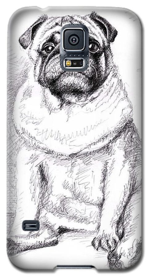 Dog Galaxy S5 Case featuring the drawing Pug Anton by Nicole Zeug