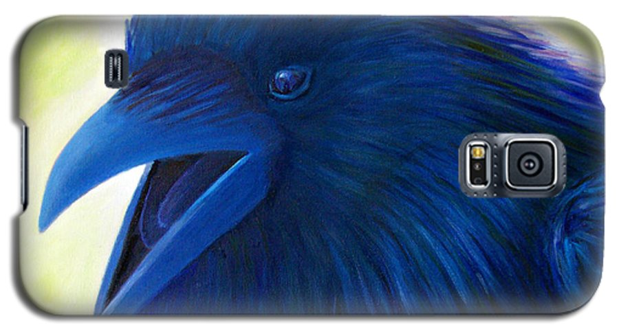 Raven Galaxy S5 Case featuring the painting Raaawk by Brian Commerford