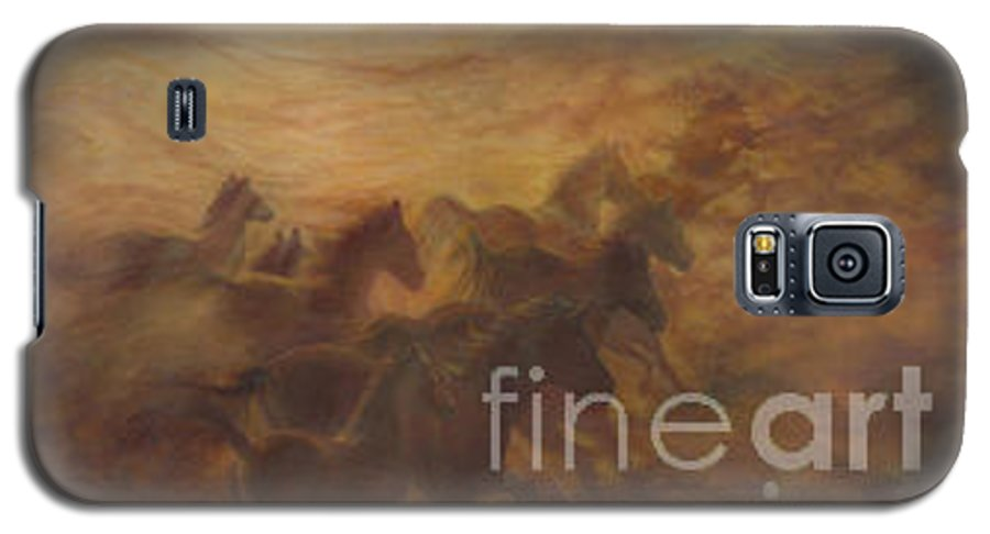 Horse Galaxy S5 Case featuring the painting Racing The Wind by Wendy Froshay