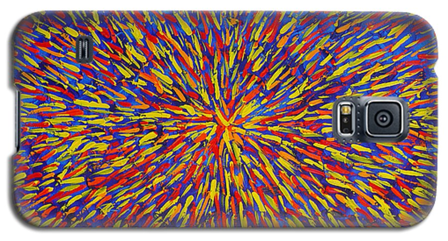 Abstract Galaxy S5 Case featuring the painting Radiation Blue by Dean Triolo